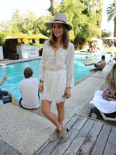 Pin for Later: All the Coachella Street Style You Have to See Jamie Chung topped off a lacy dress with a festival-perfect fedora while hanging at the pool. Jamie Chung, Summer Outfits, Summer Dresses, White Dress Summer, Festival Dress, Star Fashion, Fashion 2015, Summer Looks, Street Style