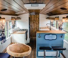 School Bus Tiny House, School Bus Camper, Old School Bus, Bus Living, Tiny House Living, Apartment Therapy, Bus Remodel, Converted School Bus, Bus Interior