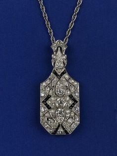 Art Deco Diamond and Onyx Pendant Brooch