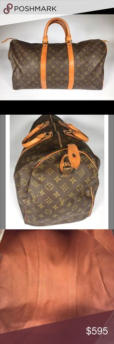Louis Vuitton Vintage Keepall 45 Monogram Duffle * Little to no marks inside or on canvas  * Vachetta has aged to a wonderful honey color and does show some light watermarks/ stains * Brass hardware shows some signs of tarnishing but can be buffed * The brass lock is included but there is no key * Zipper works properly * Handles have darkened some with use * Handles show little to no cracking * Bag smells of material   Overall this bag is in great condition and very usable with most…