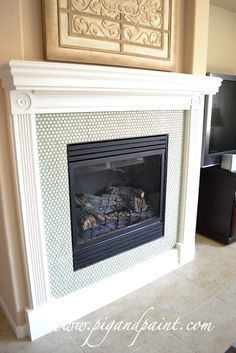 Colored penny tile fireplace surround