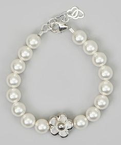 Take a look at this Silver & White Pearl Daisy Bracelet by Crystal Dream on #zulily today! $15 !!