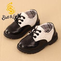 British style boys girls leather shoes fashion sneakers teenage student performances play black white shoes for kids No.A186 #Affiliate