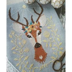Spring Deer Cross Stitch Pattern - beautiful modern cross stitch pattern Cross Stitch Maker, Cross Stitch Kits, Deer Crossing, Cross Stitch Numbers, Deer Pattern, Types Of Stitches, Modern Cross Stitch Patterns, Tapestry, Embroidery
