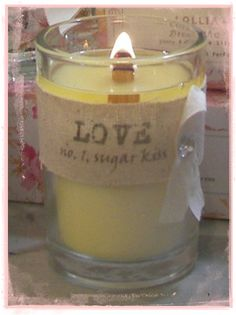 """My favorite fragrance """" Sugar Kiss"""", perfect for our Love Candle this Valentines Day by Rendezvous Soy.  Available at haley's cottage of course."""