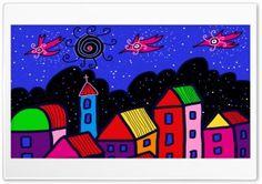 Les Maisons en Couleur HD Wide Wallpaper for Widescreen