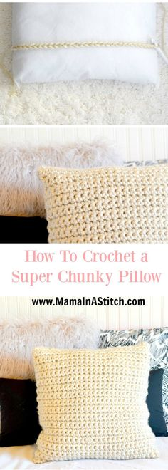 Super Chunky Crochet Pillow Project via @MamaInAStitch free crochet pattern for an easy chunky crocheted pillow! #diy #tutorial