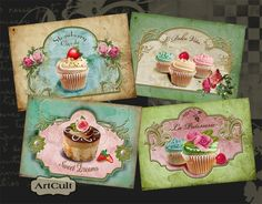 SWEET CUPCAKES - Digital Collage Sheet Gift Tags Printable Download Greeting cards Paper goods. $4.99, via Etsy.