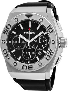 TW Steel CEO Diver Large Stainless Steel Watch - Black Dial Date TW Steel Watch Mens - Black Rubber Band 48mm Chronograph Dive Watch CE5009. Matte stainless steel case (48 mm in diameter, 15 mm thick), Stainless steel screw-down case-back with embossed TW Steel logo, Unidirectional rotating bezel with embossed 60 minute scale. Black dial with silver rimmed sub-dials, TW Steel logo at the 12 o'clock position, White luminescent hands and indices. Small seconds sub-dial at the 6 o'clock...