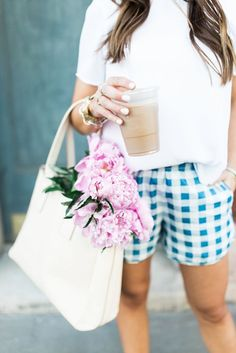 Casual Spring Style via Glitter & Gingham // Gingham Madewell Shorts, Blush Sandals, Frye Tote, David Yurman Jewelry // Pink Peonies // Casual summer outfit / Spring outfit Inspiration