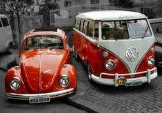 Bus and bug OMG... So want these! Volkswagen Bus, Volkswagen Transporter, Vw T1, Vw Camper, Wolkswagen Van, Van Vw, Vw Bugs, Vw Minibus, Carros Vintage