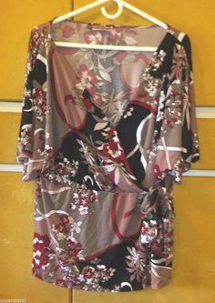 JLO JENNIFER LOPEZ - Floral Print Wrap Top Blouse Plus Size 1X #JenniferLopez…