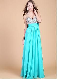 In Stock Fabulous Chiffon V-neck Neckline Floor Length A-line Prom Dress With Beadings
