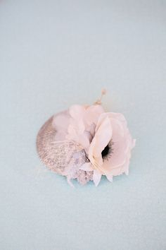 Bridal Mini Hat, Bridesmaid Fascinator, Wedding Headpiece, Bridal Hair Piece, White Silk Anemone, Bella: Ships in 1 Month