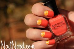 Easy tutorial for painting orange wedge nail art on a base of Deborah Lippmann Girls Just Want To Have Fun    Click through for a tutorial!
