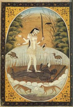 animus-inviolabilis: The White Kali (Sveta-Kali) standing on Dark SivaKangra schoolcirca century (Re-scanned this beautiful image) Kali Goddess, Indian Goddess, Kali Hindu, Hindu Art, Ancient Goddesses, Gods And Goddesses, Mother Kali, Tantra Art, Apocalypse Art