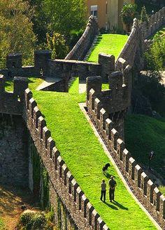 Castle walls in Bellinzona, Switzerland