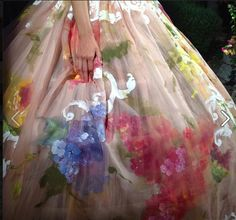 Scarlett Johansson, Hand Painted Gowns, Sicilian Folk Music: Here's What Went Down at Dolce & Gabbana's First Ever Couture Show: Detail on a hand-painted gown.