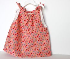 Spring Dots Toddler Dress  Coral Pink by handmadetherapykids, $20.00