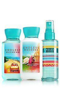 Bath and Body Works Endless Weekend Travel Size 3 Fl Oz Shower Gel, Lotion, and Fragrance Mist Gift Set -- New and awesome product awaits you, Read it now : Travel Skincare Bath N Body Works, Bath And Body Works Perfume, Fragrance Mist, Body Mist, Body Lotions, Smell Good, Shower Gel, Baby Shower, Travel Size Products