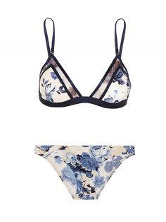 10 Bikinis That Scream Babe Status via hydra mesh paneled printed triangle bikini zimmermann Cute Swimsuits, Cute Bikinis, Beach Swimsuits, Summer Suits, Summer Wear, Lingerie Plus Size, Lingerie Sets, Cute Bathing Suits, Beach Wear