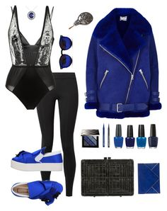 """I got the Blues"" by thenudeface ❤ liked on Polyvore featuring Acne Studios, The Row, N°21, For Love & Lemons, Fleur du Mal, Allurez, Burberry, Azzaro, NYX and OPI"