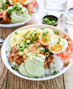 Sweet Chili Pork Cutlet Rice Bowls with Avocado Cream are a great quick weeknight dinner recipe idea! | www.cookingandbeer.com