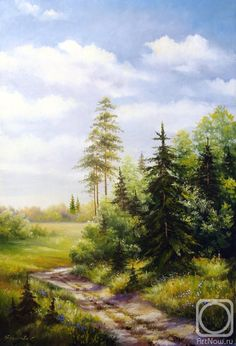 Not titled Green Landscape, Landscape Art, Landscape Paintings, Landscapes, Russian Painting, Russian Art, Oil Painting Pictures, Pictures To Paint, Dream Pictures