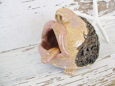 Zoe Salt cellar ceramic face salt pig celler by SeamariesBounty, $40.00
