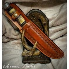 Custom leather knife sheath tooled handmade