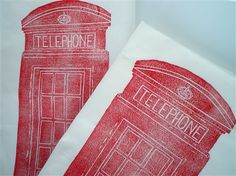 London British Red Telephone Box Tea Towel - retro Brit style. From Talented Apple.