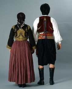 "Front and back of the festive Cypriot man's and woman's (""rouziettin"") dresses.-1900's"