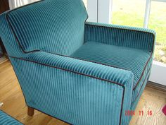 Boxy Club Chair Upholstered In Wide  Wale Corduroy With Contrast Brown  Velvet Welt Cord.