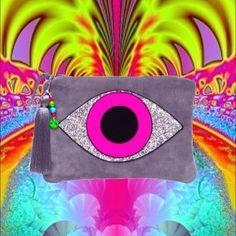 Evil Eye Neon on Grey Suede Pouch by Greeneyerocks  www.greeneyerocks.com