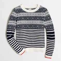 j. crew wool fair aisle sweater pullover Super cozy sweater from J. Crew Factory. Beautiful navy fair Isle pattern on ivory and accent red stripe on the sleeves. This sweater is subtly festive and will take you well into the winter season. Super soft viscose/nylon/merino wool blend. No itchiness there! Hits at hip. NWT. Measurements available upon request. J. Crew Sweaters