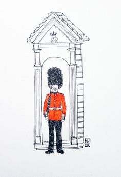 a queens guard in london original drawing by matt waruszynski