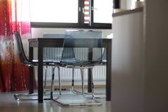 My gray second-hand Tobias chairs with the old Ikea Bjursta table.