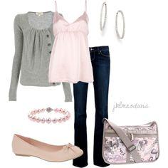 """""""Light Pink & Gray"""" by jklmnodavis on Polyvore"""