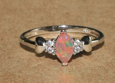 fire opal Cz ring gemstone silver jewelry Sz 7.5 chic delicate petite cocktail H #Cocktail