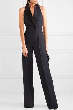Pallas | Cutout satin-trimmed crepe jumpsuit | NET-A-PORTER.COM