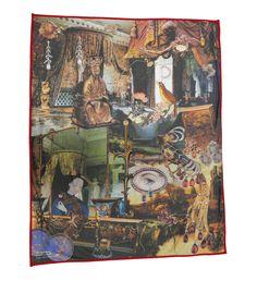 Luksus tæppe, illustreret med den berømte historie Nattergalen af HC Andersen #nattergalen #hcandersen #tæppe #kunst #eventyr #håndlavet #butik #købe #tæppesalg #digitalttrykt #hjemdesign #trykt #indretning #interiørdesign #luksus #historie #tilseng
