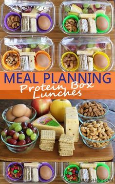 Protein Box Lunches are a delicious, healthy option to add to your weekly meal planning ideas. Cashews, almonds, hard boiled eggs and cheese provide enough protein to keep you full until dinner! Lunch To Go, Lunch Meal Prep, Healthy Meal Prep, Healthy Snacks, Healthy Eating, Healthy Recipes, High Protein Snacks On The Go, Healthy High Protein Meals, Protein Box