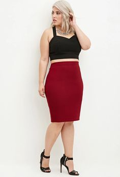 Plus Size Ribbed Knee-Length Skirt | Forever 21 PLUS #forever21plus