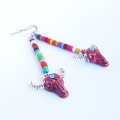 Bull earrings Taurus multicolor jewelry gift for her bohemian jewellery longhorn bull