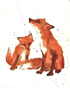 Mother and baby fox - love love love