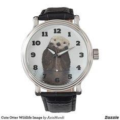Cute Otter Wildlife Image Wrist Watches
