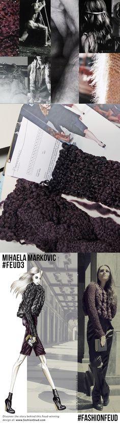 Fashion Sketchbook - fashion illustration, mood board & knit samples; fashion design development; fashion portfolio // Mihaela Markovic at Fashion Feud