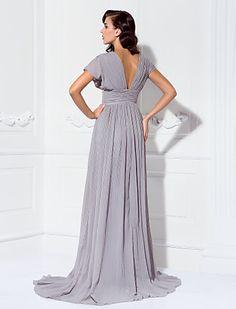 Chiffon Sheath/Column V-neck Sweep/Brush Train Evening Dress inspired by Mila Kunis - USD $ 89.99