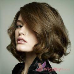 Cut Bob Hairstyle Medium Silky Wavy Brown real human  hair Lace Wig