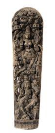Sculpture en bois de Lakshmi-Char de temple 181 cm